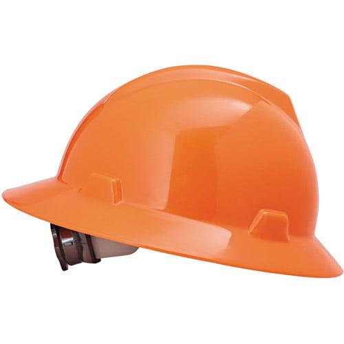 MSA V-Gard Full-Brim Hard Hats, Ratchet Suspension, Size 6 1 2 8, High-Viz Orange by MSA