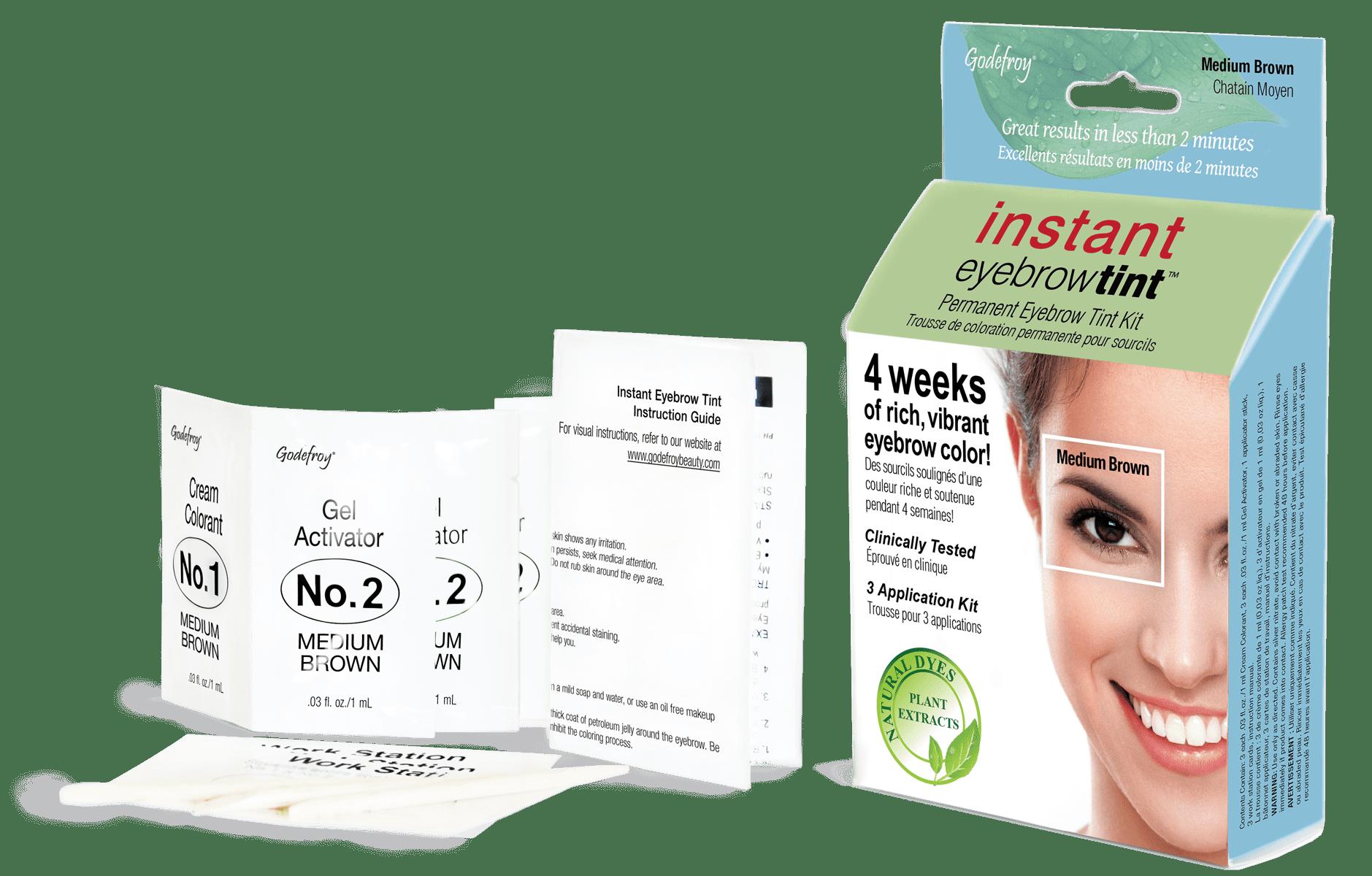 Godefroy Instant Eyebrow Tint, 3 application kit, Medium ...