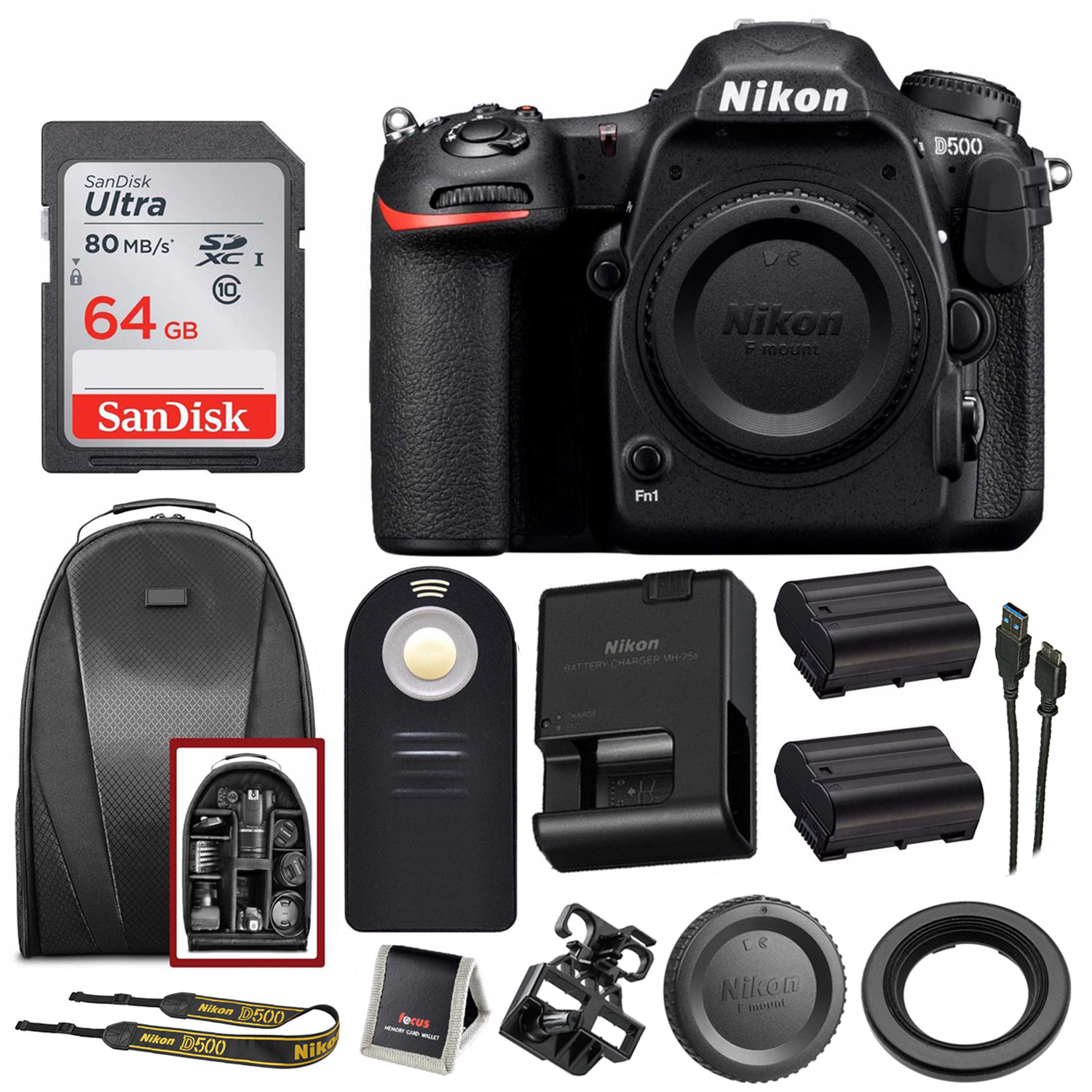 Nikon D500 DX-Format DSLR Camera (Body) + 64GB Card + Backpack +...