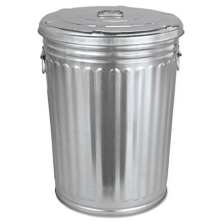 Magnolia Brush Pre-Galvanized Trash Can With Lid, Round, Steel, 20gal, Gray (Waste Container Gray Lid)