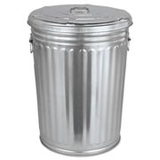 Magnolia Brush Pre-Galvanized Trash Can With Lid, Round, Steel, 20gal, Gray -MNL20GALLONWLID