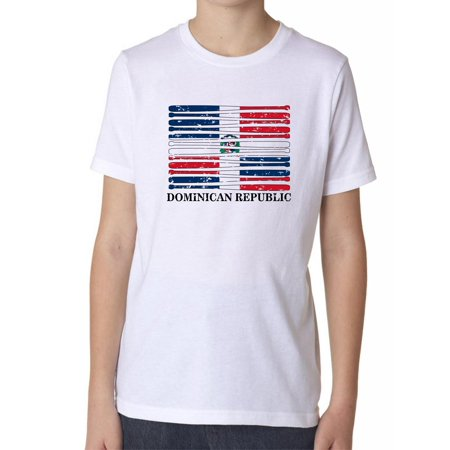 Dominican Republic Baseball Classic - World Vintage Bats Flag Boy's Cotton Youth (Dominican Republic Flag T-shirt)