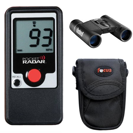 Pocket Radar PR-1000 Handheld Speed Radar + Bushnell 8x21 Powerview Binocular + Camera