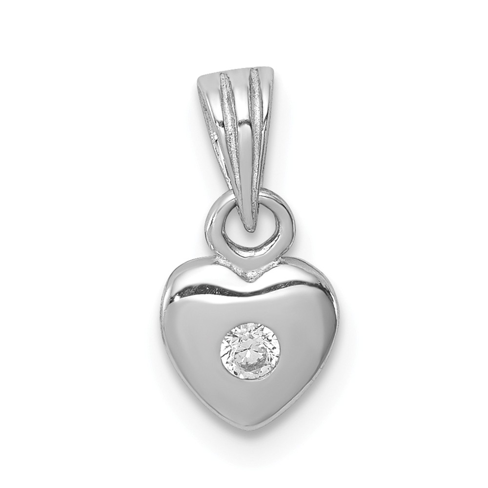 Sterling Silver Rhodium-plated w/CZ Heart Pendant