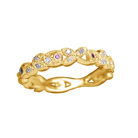 Ruby Gold Wedding Bands - Ruby & White Natural Diamond Wedding Band Ring In 10k Yellow Gold (0.2 Cttw)