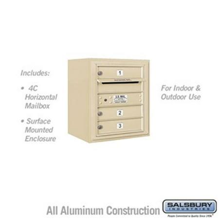 Salsbury 3805S-03SFU 21 - 0.125 in. 5 Door High Unit Single Column 3 MB1 Doors Front Loading Surface Mounted 4C Horizontal Mailbox Unit, Sandstone - USPS Access