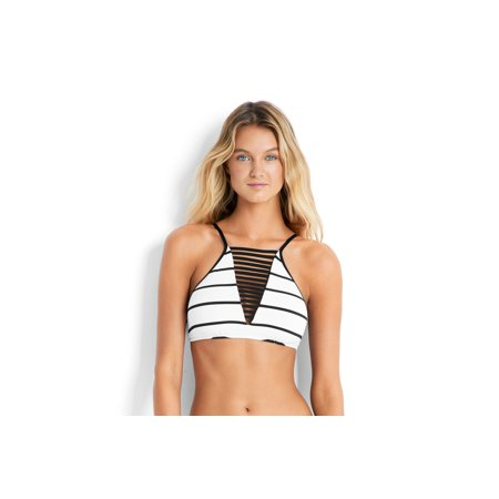 - Seafolly Women's Castaway Stripe High Neck Tank Swim Top-US8-White