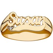 Personalized Women's Diamond Accent Gold over Sterling Silver Name Heart Ring
