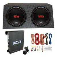 "Boss Chaos Exxtreme 12"" 1200W 4 Ohm Subwoofer (Pair) w/ Box, Mono Amp & Wiring"
