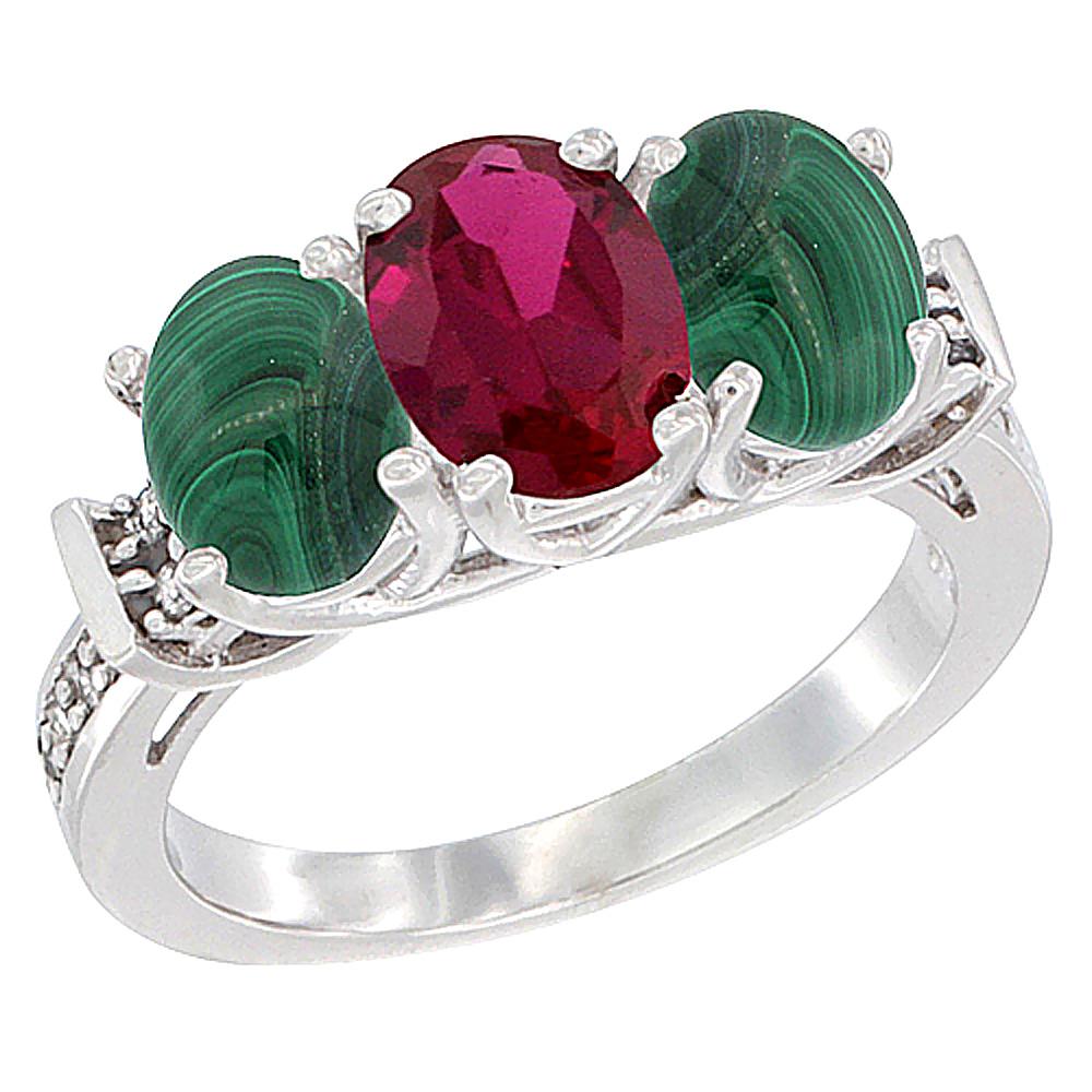 10K White Gold Enhanced Ruby & Malachite Sides Ring 3-Stone Oval Diamond Accent, sizes 5 10 by WorldJewels