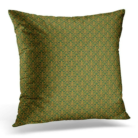 ARHOME Golden Damask Collection 1 Beautiful and Very Elegant of Metallic Gold Overlay on Green Ripple Glass Pillows case 18x18 Inches Home Decor Sofa Cushion Cover