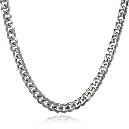 Hermah 9mm Mens Boys Curb Cuban Chain Silver Tone Stainless Steel Necklace