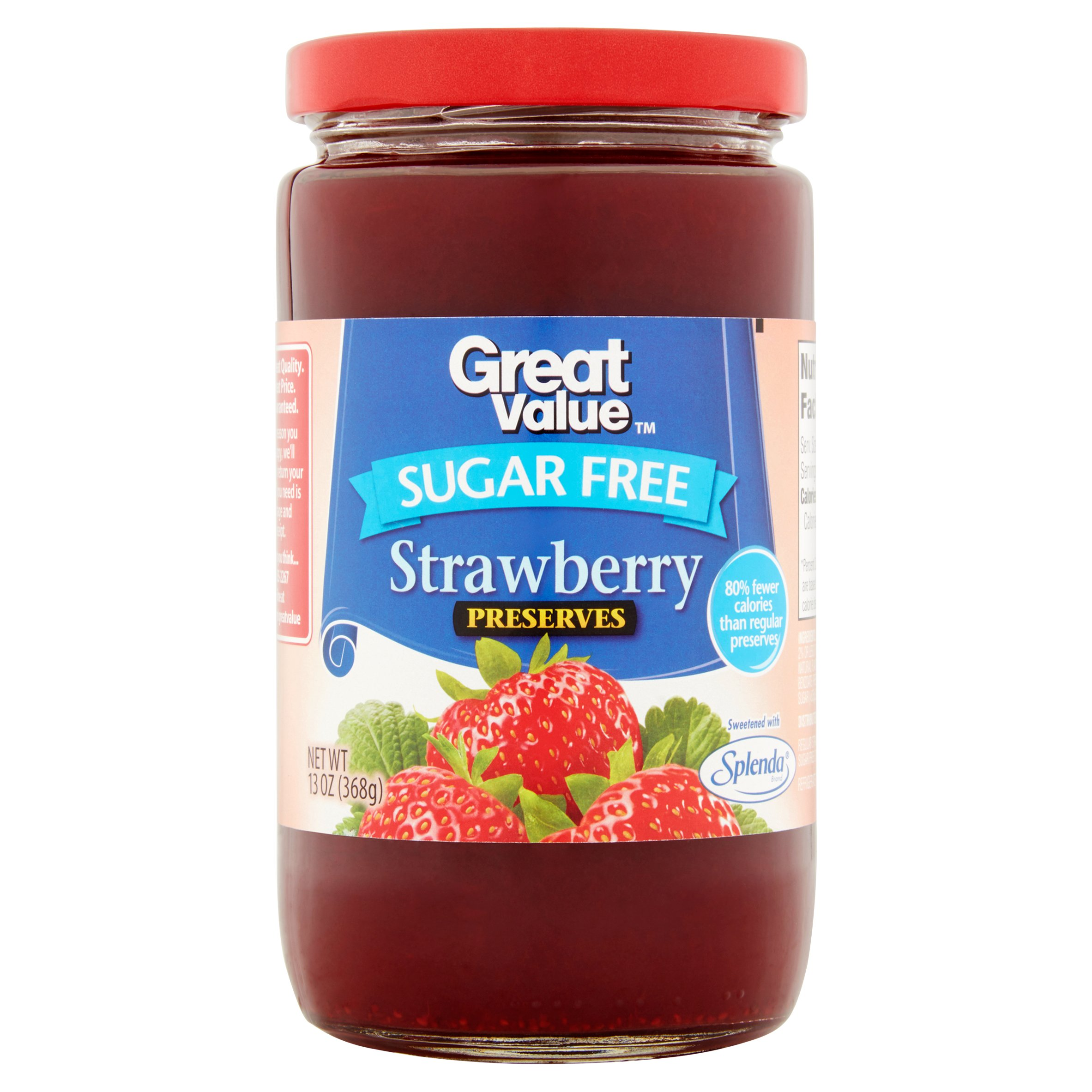Great Value Sugar Free Strawberry Preserves, 13 oz