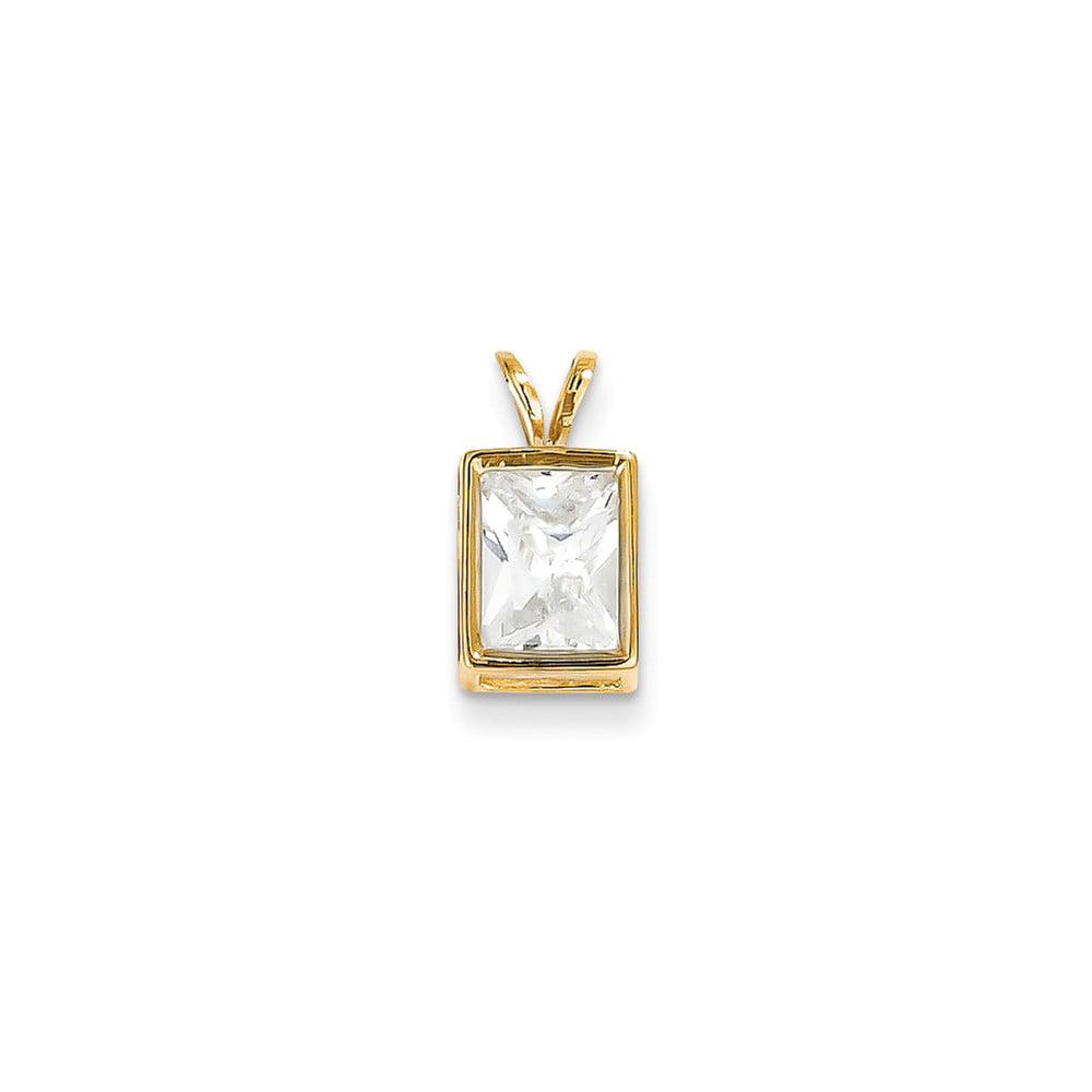 14k Yellow Gold 8x6mm Emerald Cut Cubic Zirconia bezel pendant
