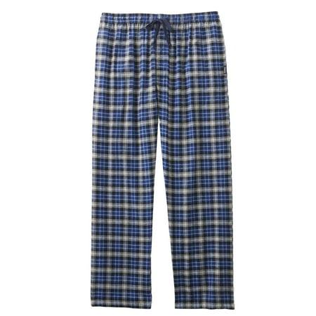 Hanes Mens Blue/White/Black Plaid Flannel Sleep Lounge Pants Pajama Bottoms
