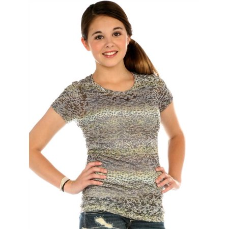 Kavio Girls 7-16 BurnOut Cheetah Sblmtn Crw Neck S/S, Style GAP0045