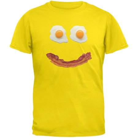 Mr. Happy Smiley Face Bacon And Eggs Yellow Youth T-Shirt (Smiley Face Happy Halloween)