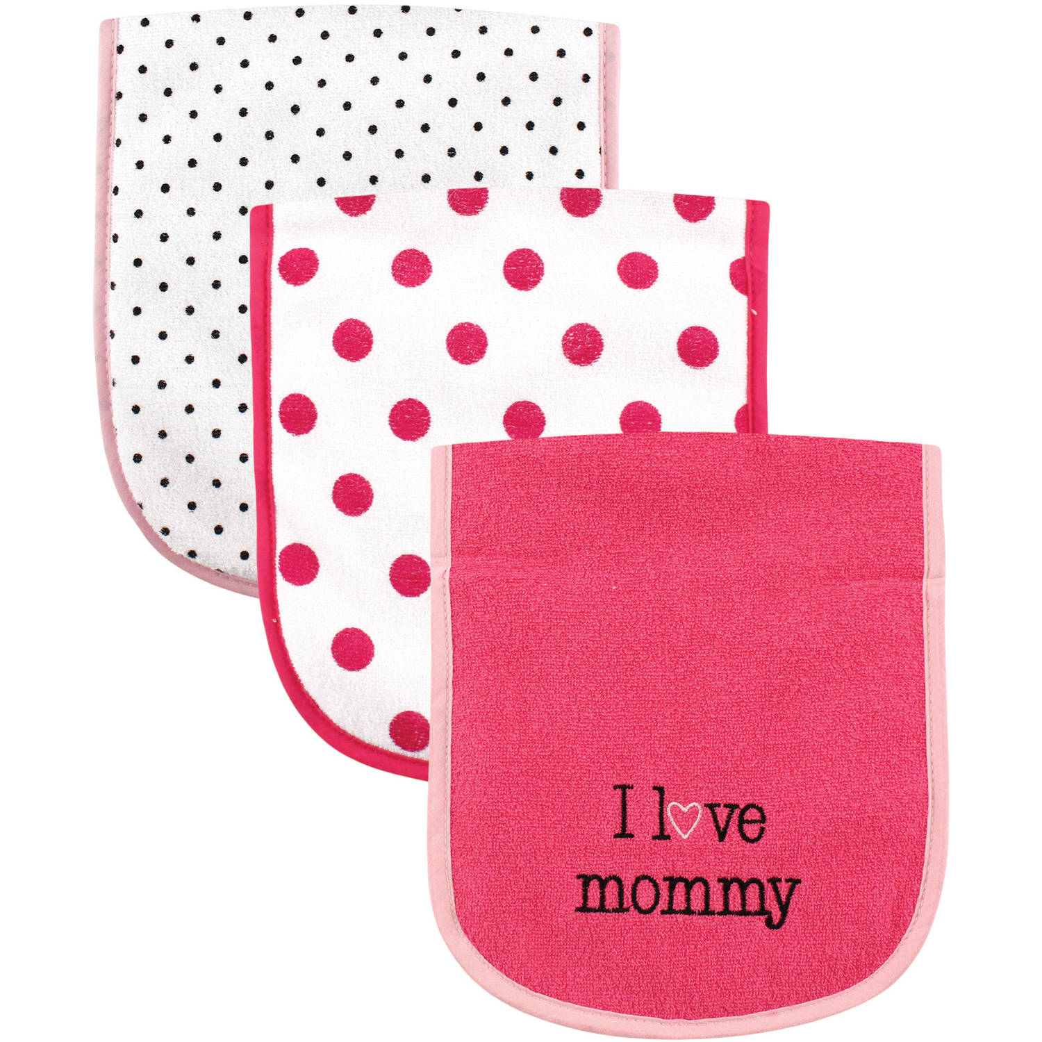 Luvable Friends I Love Burp Cloth, 3pk, Girl Mommy