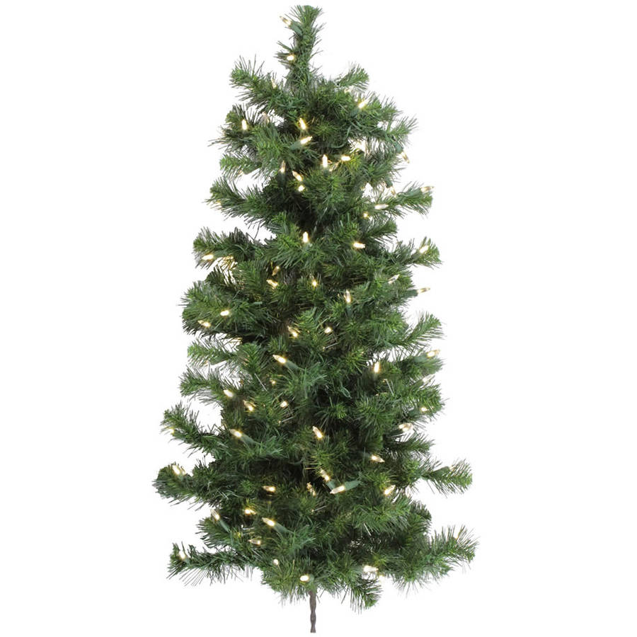 Vickerman 3' Douglas Fir Artificial Christmas Wall Tree with 100 Warm White LED Lights