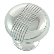 "1 1/4"" Striped Knob - Polished chrome"