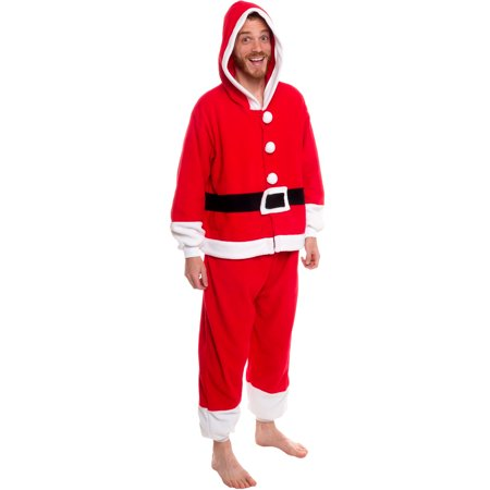 Silver Lilly Unisex Adult Red Plush Holiday Santa Claus Onesie Pajamas - Holiday Onesie