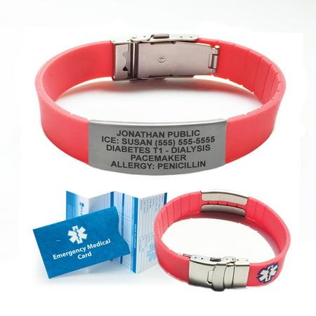 Silicone SPORT Medical Alert ID Bracelet - Custom Engraved! Choose Your  Color!