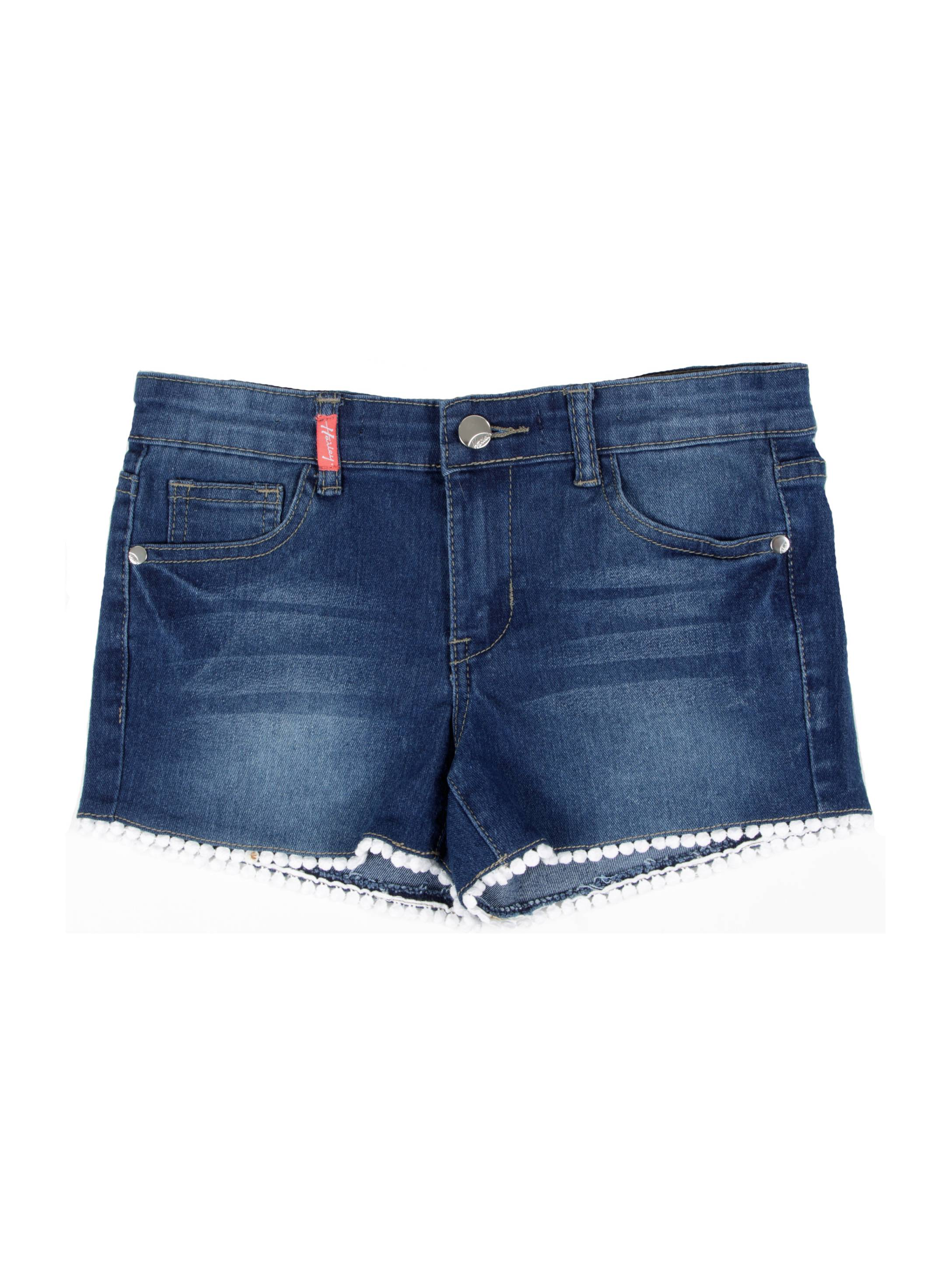 9H072(SH) - Girls Stretch 5 Pockets Premium Shorts with Laced Hem