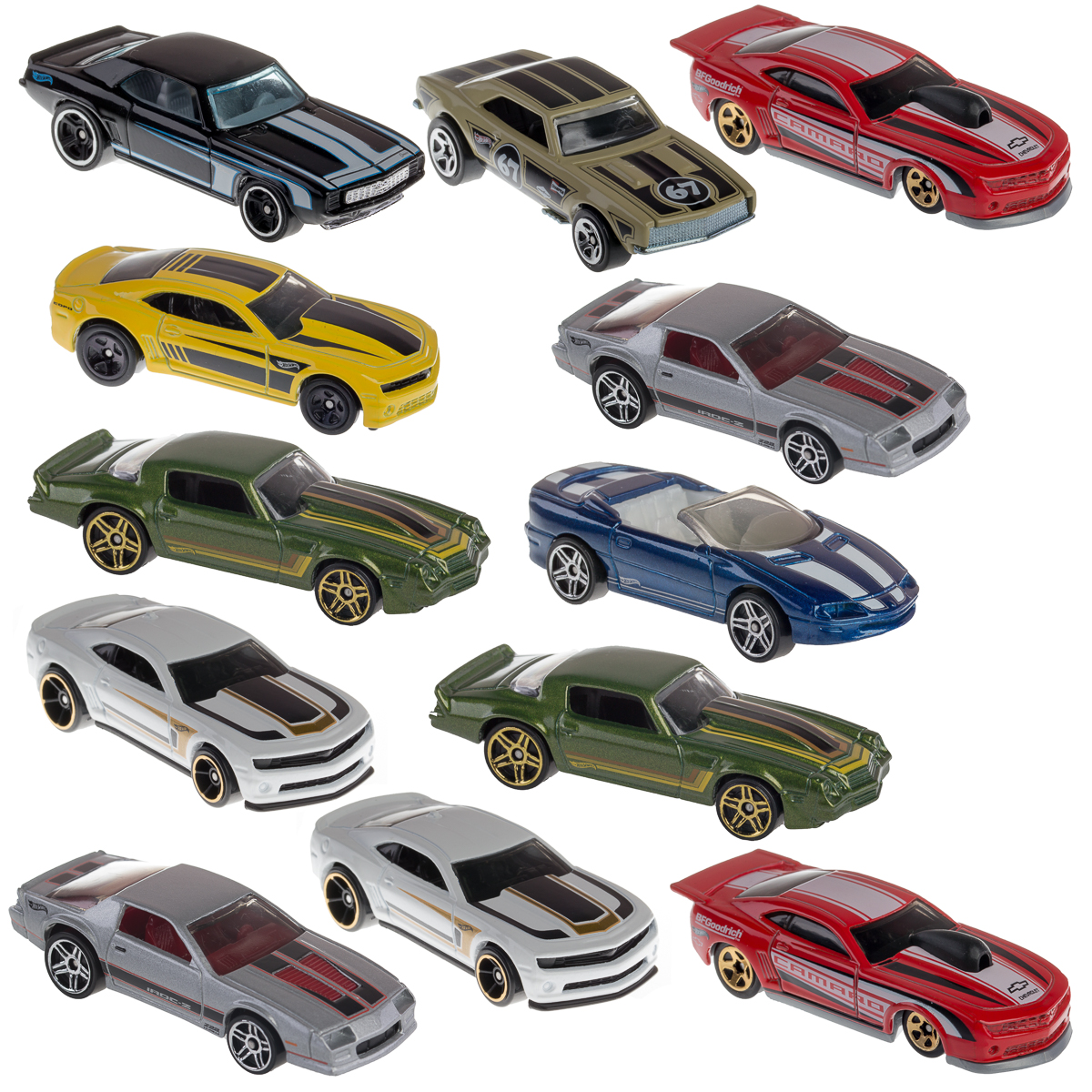 Hot Wheels (12 Pack) Chevy Camaro Diecast Car 1/64 Model Toys 50th Anniversary 1967-2013 Random Bulk