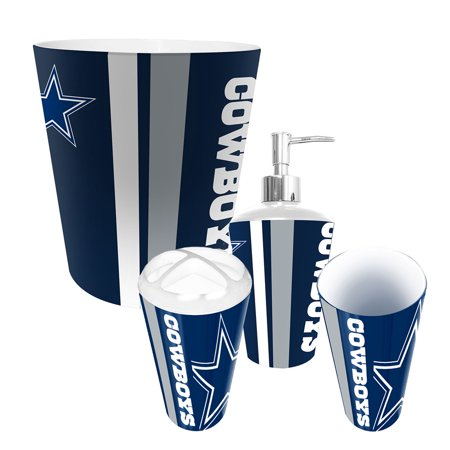 Dallas cowboys nfl complete bathroom accessories 4pc set for Bathroom accessories at walmart