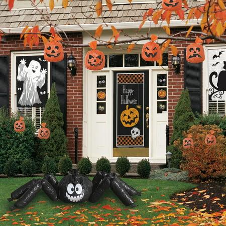 20ct Orange Pumpkin Plastic Leaf Bags, Halloween Hanging Decorations