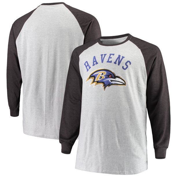 Baltimore Ravens Big & Tall Contrast Raglan Long Sleeve T-Shirt - Heathered Gray