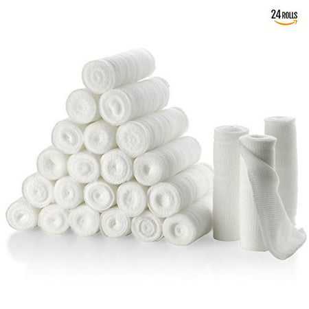 "Gauze Bandage Rolls - Pack or 24, 4"" x 4 Yards Per Roll of Medical Grade Sterile Gauze Bandage and Stretch Bandage Wrapping for Dressing All Types of Wounds and"