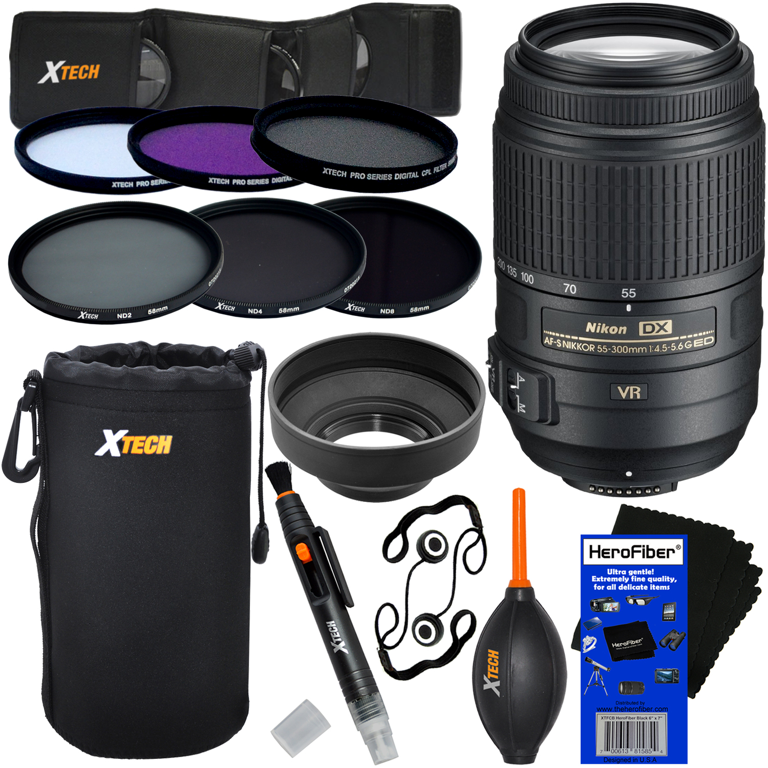 Nikon AF-S DX NIKKOR 55-300mm f/4.5-5.6G ED VR Zoom Lens for Nikon DSLR Cameras + ND Filters ND2, ND4, ND8 + 11pc Deluxe Accessory Kit w/HeroFiber Cleaning Cloth