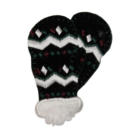 ID 7902 Fuzzy Winter Mittens Patch Snow Glove Cold Embroidered Iron On Applique