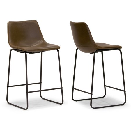 Set of 2 Adan Iron Frame Dark Brown Faux Leather Counter Stool (Faux Leather Counter Stool)
