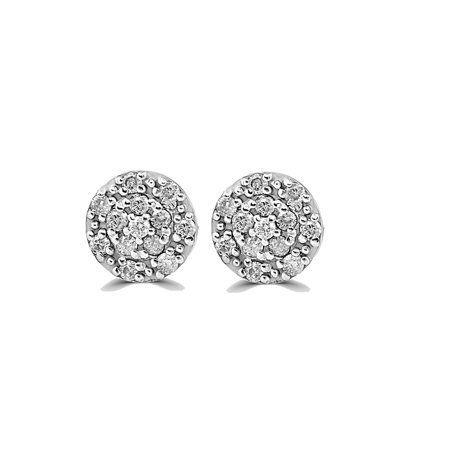 Halo 1/2 Carat Diamond Cluster Studs 10k White Gold 8.5mm - image 1 de 2