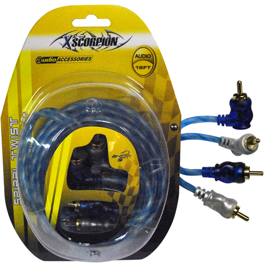 Xscorpion Stp18 Rca Cable 18 Right Angle Blue/Platinum Twisted