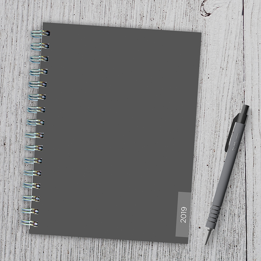 """2019 Classic Charcoal 6.25"""" x 8"""" January 2019-December 2019 Medium Weekly Monthly Planner"""