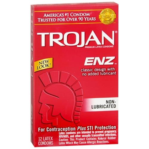 TROJAN Enz Non-Lubricated Premium Latex Condoms 12 Each (Pack of 2)