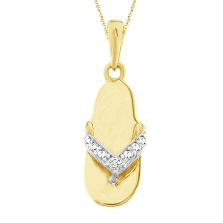 "AV DIAMONDS VAD LLC 10K Yellow Gold 0.01 cttw Round Diamond Accent Ladies Fashion Slipper Pendant w/18"" Chain Necklace"
