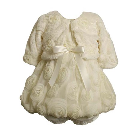 Ivory Organza Rose Bubble Dress with Fur Jacket  12 (Denim Bubble)