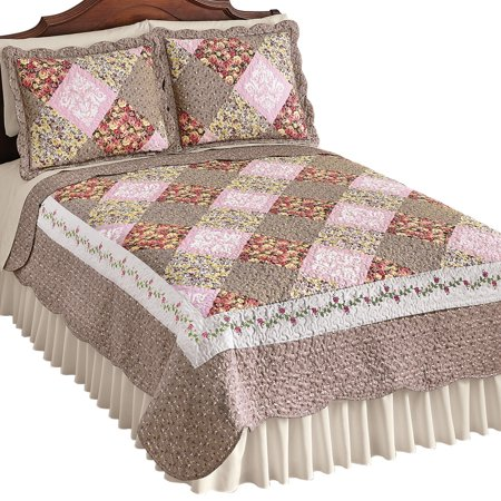 Clara Reversible Floral Patchwork Quilt, Diamond Patches with Quilted Stitching, Twin, -