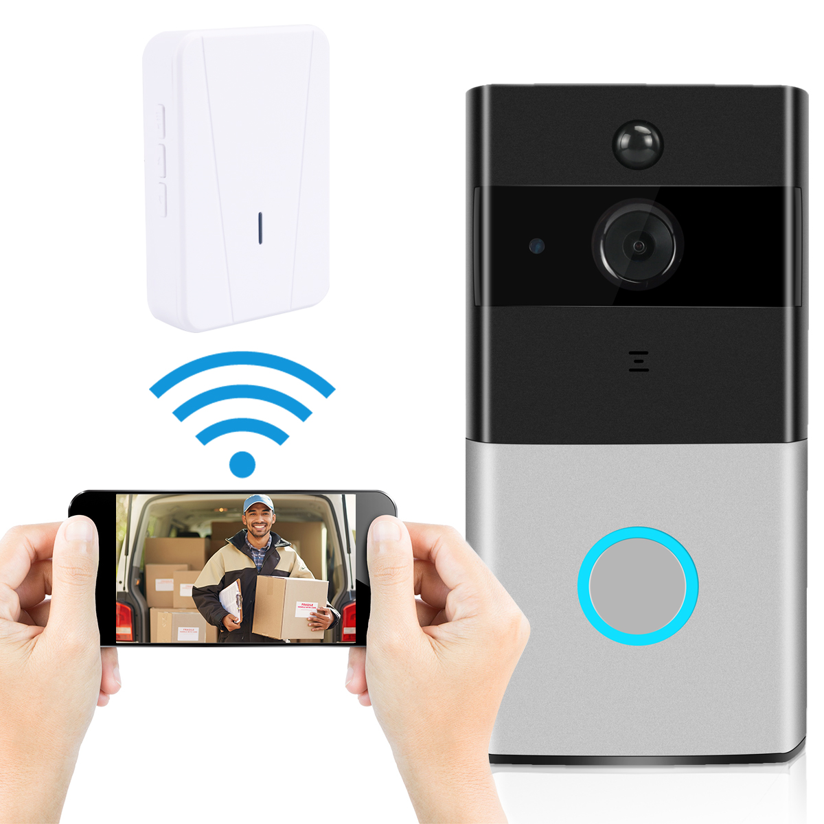 Home Intelligent WIFI Network Wireless Video Night Vision Motion Detection Phone Intercom Doorbell US