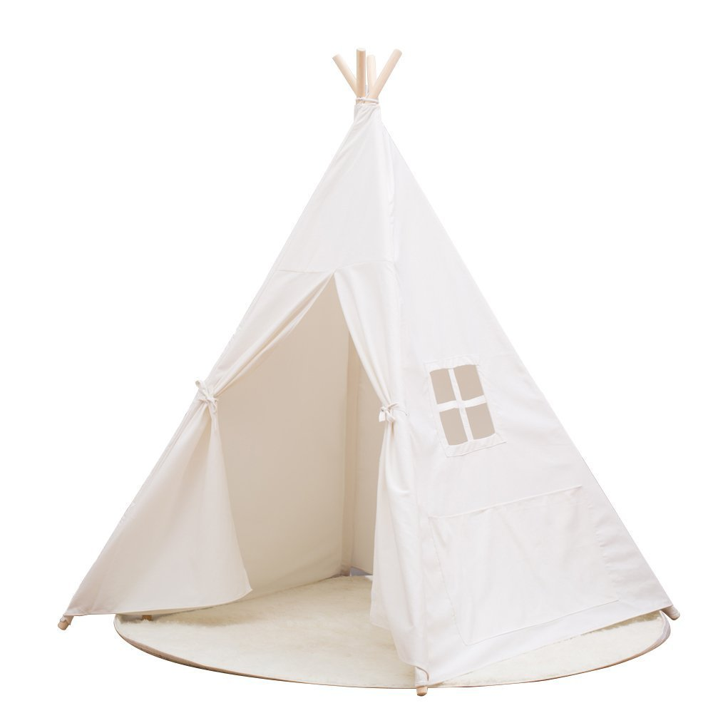Portable Kids Cotton Canvas Teepee Indina Play Tent Playhouse Class White One Window Style  sc 1 st  Walmart.com & Portable Kids Cotton Canvas Teepee Indina Play Tent Playhouse ...