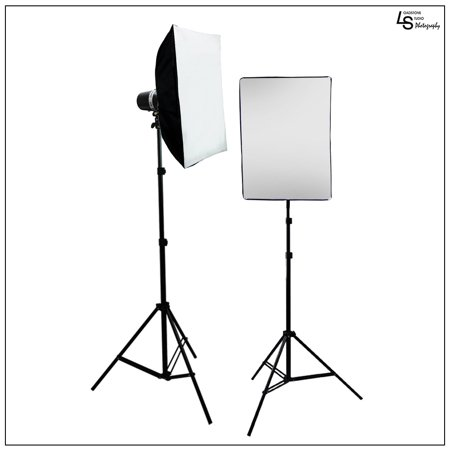 Double Softbox Lighting Kit with 2x 160W Flash Strobes, and 2x Light Stands for Photography Lighting By Loadstone Studio