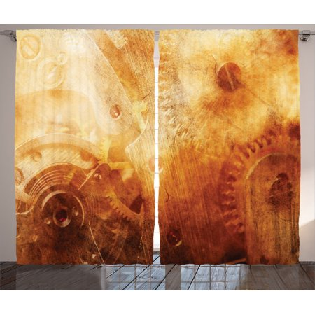Industrial Decor Curtains 2 Panels Set  Background Of Ancient Machinery Mechanism In Retro Colors Historical Rust Motion Concept  Living Room Bedroom Accessories  By Ambesonne