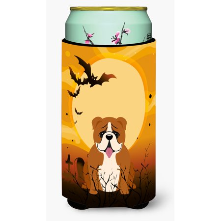 Open English Commercial Halloween (Halloween English Bulldog Red White Tall Boy Beverage Insulator Hugger)