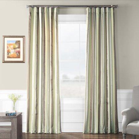 Fleur Stripe - Fleur De Lis Living Bogue Luxury Faux Silk Stripe Thermal Single Curtain Panel