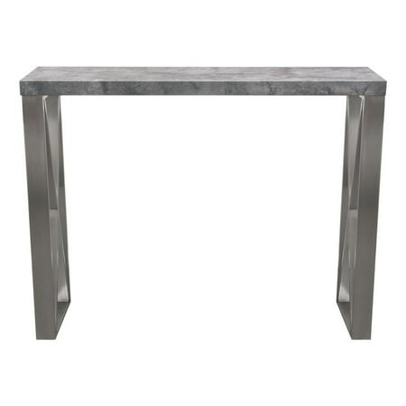 Carrera Bar Height Table in 3D Faux Concrete Finish with Brushed Stainless Steel Legs by Diamond Sofa
