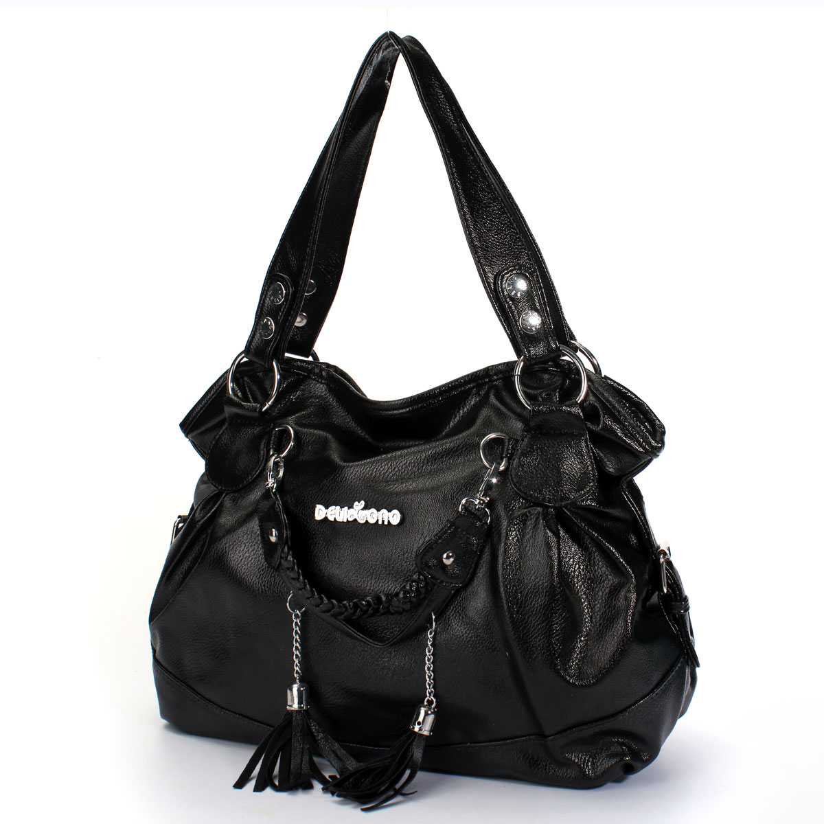 Fashion Leather Tassel Handbags For Women Shoulder Bag Purse Messenger Shopper Tote Bag,Black color